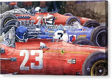 1968 Belgie Gp Spa Ickx Amon Ferrari 312 Stewart Matra Cosworth M15 Canvas Print by Yuriy Shevchuk