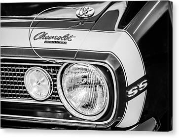 1968 Chevrolet Yenko Super Camaro Hood Emblem -1785bw Canvas Print by Jill Reger