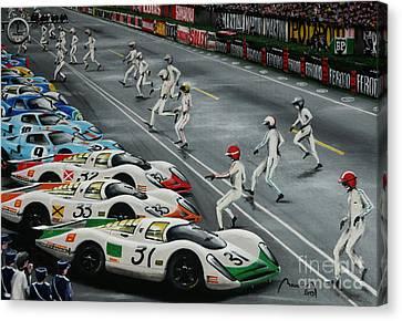 1968 Le Mans Start Canvas Print by Alain Baudouin