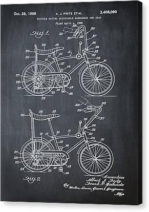 1968 Schwinn Stingray Patent In Chalk Canvas Print by Bill Cannon