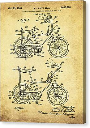 1968 Schwinn Stingray Patent In Sepia Canvas Print by Bill Cannon