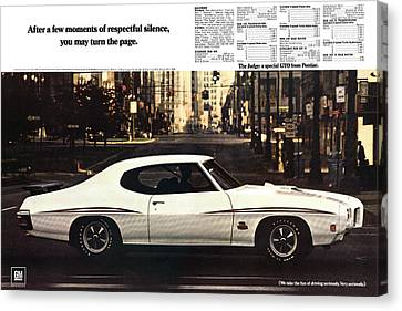 1970 Pontiac Gto The Judge  Canvas Print by Digital Repro Depot