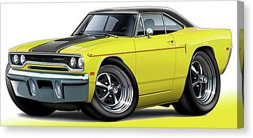 1970 Roadrunner Yellow Car Canvas Print by Maddmax