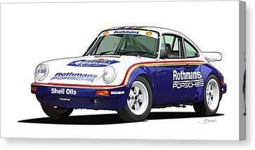 1984 Porsche 911 Sc Rs Illustration Canvas Print by Alain Jamar