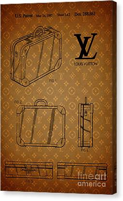 1987 Louis Vuitton Suitcase Patent 3 Canvas Print by Nishanth Gopinathan