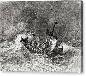 19th Century Fishing Boat In Stormy Canvas Print by Vintage Design Pics