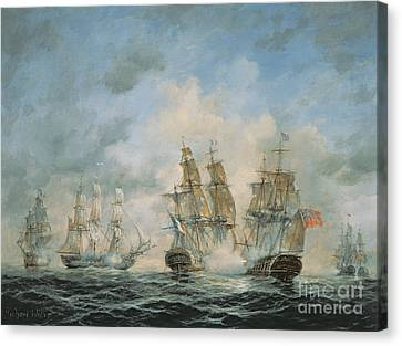 19th Century Naval Engagement In Home Waters Canvas Print by Richard Willis