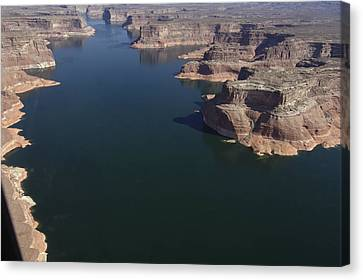 Aerial View Of Lake Powell Canvas Print by Carl Purcell