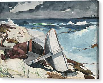 After The Hurricane, Bahamas Canvas Print by Winslow Homer