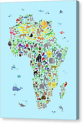 Animal Map Of Africa For Children And Kids Canvas Print by Michael Tompsett
