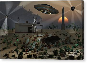 Artists Concept Of A Science Fiction Canvas Print by Mark Stevenson