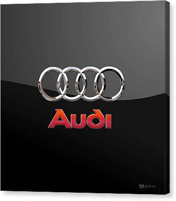 Audi - 3 D Badge On Black Canvas Print by Serge Averbukh