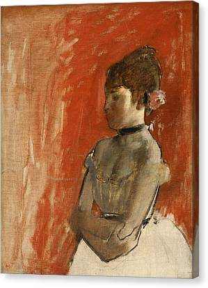 Ballet Dancer With Arms Crossed Canvas Print by Edgar Degas