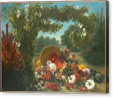 Basket Of Flowers Canvas Print by Eugene Delacroix