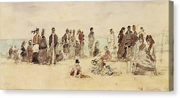 Beach Scene Canvas Print by Eugene Louis Boudin