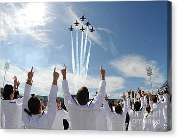 Blue Angels Fly Over The Usna Graduation Ceremony Canvas Print by Celestial Images