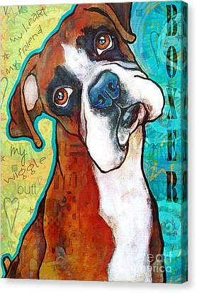 Boxer Love Canvas Print by Stephanie Gerace