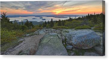 Cadillac Mountain Sunrise Canvas Print by Stephen  Vecchiotti