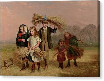 Children Returning Home From Gleaning Canvas Print by Hugh Collins