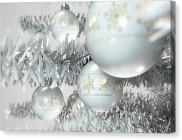 Christmas Decor White Canvas Print by Allan Swart