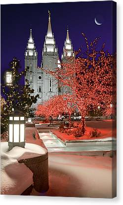 Christmas Lights At Temple Square Canvas Print by Utah Images