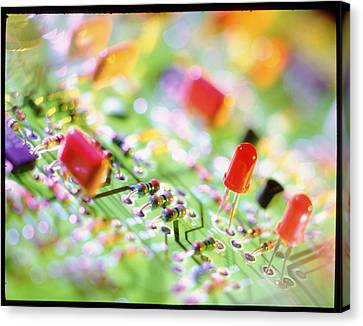 Close-up Of An Electronic Circuit Board. Canvas Print by Tek Image