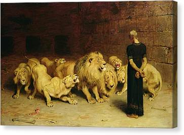 Daniel In The Lion's Den Canvas Print by Briton Riviere