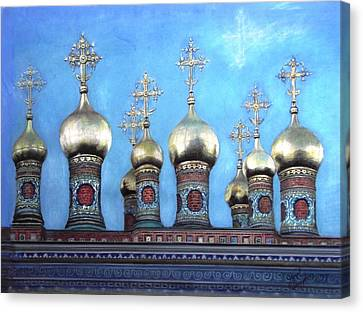 Domes Above The Moscow Kremlin Canvas Print by Janet Grappin