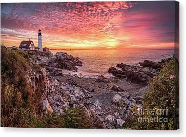 Epic Sunrise At Portland Head Light Canvas Print by Benjamin Williamson
