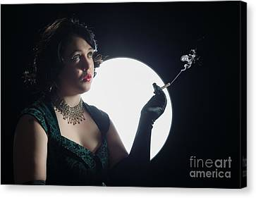Film Noir Smoking Woman Canvas Print by Amanda And Christopher Elwell