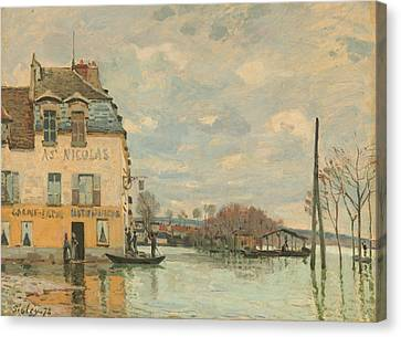 Flood At Port - Marly Canvas Print by Alfred Sisley