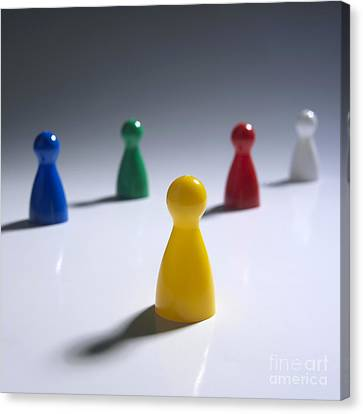 Game Pieces In Various Colours Canvas Print by Bernard Jaubert