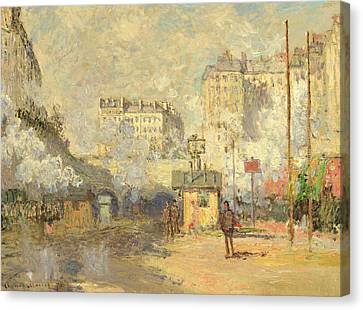 Gare Saint Lazare Canvas Print by Claude Monet