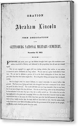 Gettysburg Address, 1863 Canvas Print by Granger