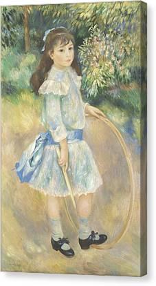 Girl With A Hoop Canvas Print by Pierre Auguste Renoir