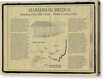 Harshman  Covered Bridge  Canvas Print by Jack R Perry