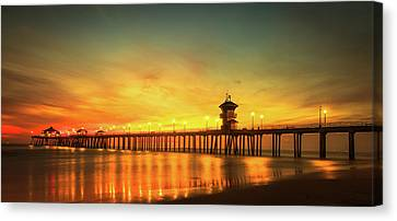 Huntington Beach Sunset Canvas Print by Phong Trinh