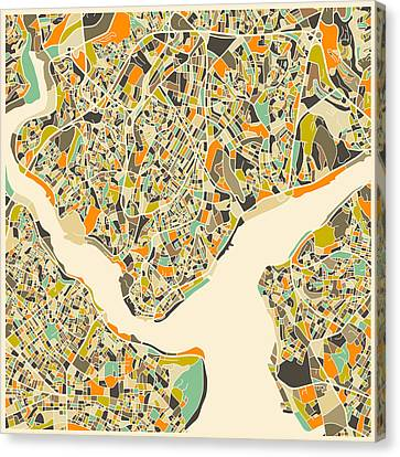 Istanbul Map Canvas Print by Jazzberry Blue
