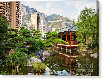 Japanese Garden In Monte Carlo. Canvas Print by Elena Elisseeva