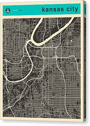 Kansas City Map 1 Canvas Print by Jazzberry Blue