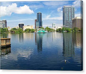Lake Eola Downtown Orlando Canvas Print by Gary R Photography