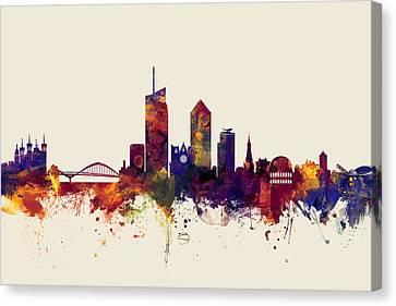 Lyon France Skyline Canvas Print by Michael Tompsett
