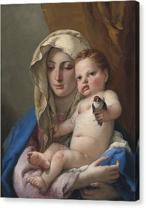 Madonna Of The Goldfinch Canvas Print by Giovanni Battista Tiepolo