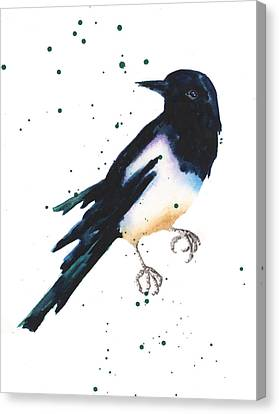 Magpie Painting Canvas Print by Alison Fennell