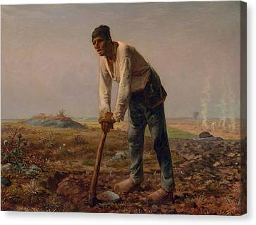 Man With A Hoe Canvas Print by Jean Francois Millet