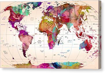 Map Of The World   Canvas Print by Mark Ashkenazi