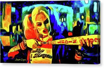 Margot Robbie Playing Harley Quinn - Van Gogh Style Canvas Print by Leonardo Digenio