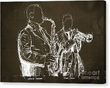 Miles Davis And Charlie Parker On Stage, Original Sketch Canvas Print by Pablo Franchi