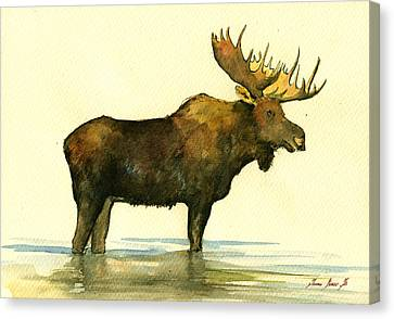 Moose Watercolor Painting. Canvas Print by Juan  Bosco