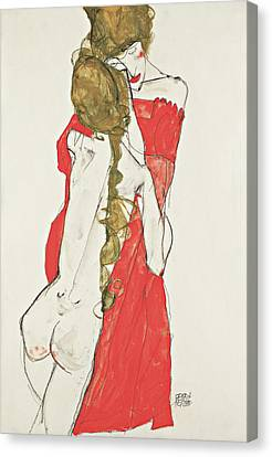 Mother And Daughter Canvas Print by Egon Schiele
